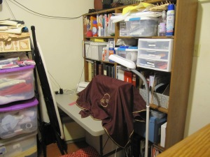 Sewing machine and shelves for books, manuals, notions, etc.